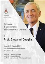 Cittadinanza Onoraria Prof. Giovanni Quaglia